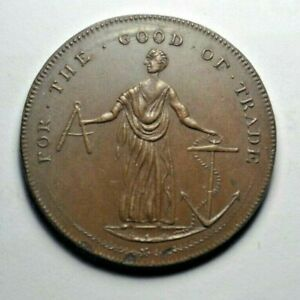 """Middlesex, London, Orchard's mule """"For the Good of Trade"""" halfpenny token DH 413"""