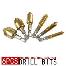 6Pcs Set New 90°Hex 5 Flute Drill Bit Set Counter Sink Chamfer Cutter 6-19mm