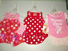New listing Lulu Pink Dog Outfits 3 Dresses, 2 Red And 1 Pink Xs