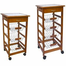 3 4 Tier Kitchen Trolley Brown Cart Basket Storage Drawer Wood Top Portable