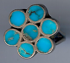 VINTAGE ZUNI INDIAN FLUSH INLAY TURQUOISE STERLING SILVER RING SIZE 5-3/4