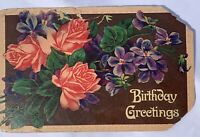 Antique Birthday Greetings Post Card Flowers Floral Rose Violet Brown Purple