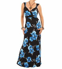 Azul Nuevo Vestido Largo con Estampado Floral - Escote Amor