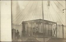 Small Circus Act - Man Balancing Something on Nose c1910 Real Photo Postcard