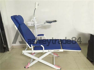 New Blue Portable Dental Mobile Chair + LED Surgical Light + Tray + Waste Basin