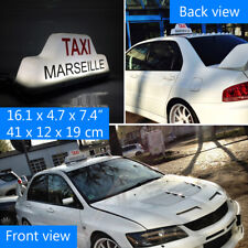 «TAXI MARSEILLE» Taxi Light Roof Sign Super Magnets Up To 180 KMH or 115 MPH