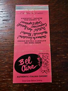 Vintage Matchcover: Bel Aire Italian Restaurant, Belmont, CA