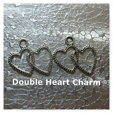 Double Heart Charms 12pkg 22mm Jewelry Craft Charms Silver Plated