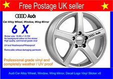 Audi Alloy Wheel Stickers Decal set of x 6 including Free Postage