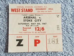 1967 - ARSENAL v STOKE CITY MATCH TICKET - FIRST DIVISION - 66/67