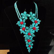 "k14645 Howlite turquoise coral flower pendant earrings beaded necklace set 20"""