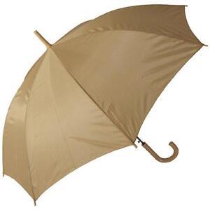 "Rainstoppers 48"" Arc Tan Beige W Matching Hook Handle Stick Umbrella Auto Open"