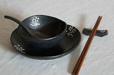 5 Pieces Japanese Dining Set - Black with White Sakura