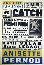 """""""ANISETTE PERNOD / CATCH"""" Affiche originale entoilée 6/4/80 44x64cm"""