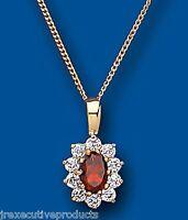 Garnet Pendant Garnet Necklace Garnet Cluster Yellow Gold Garnet Pendant