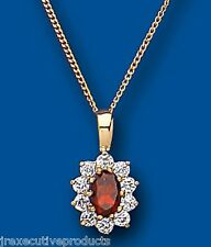 "Yellow Gold Garnet Pendant Oval Cluster Natural Stones 18"" Chain Hallmarked"