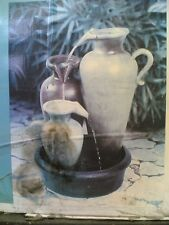 NIB: Nice Outdoor Fiberglass 3-Vase WATER FOUNTAIN