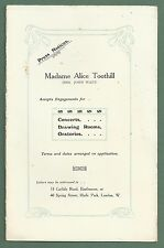 1910'S ADVERTISING BROCHURE FOR MADAME ALICE TOOTHILL CLASSICAL SOPRANO SINGER