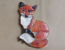 Virgil & Shirley Benn Zuni Indian inlay Fox pin brooch sterling silver signed