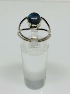 Gorgeous Real Labradorite Stone Ring 925 Solid Silver Size R~R1/2 #12474