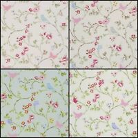 Clarke & Clarke Bird Trail Rose,Grey,Chintz Designer Curtain Upholstery Fabric
