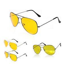 HD Ultra Night Vision Sun Glasses Aviator Mens Womens Yellow Driving View Lens
