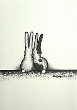 Rabbit bunny hare print A5 original ink drawing picture black white patch spot