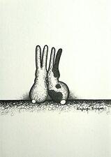 Coniglio Coniglietto Lepre stampa A5 ORIGINALE INK FOTO DISEGNO NERO BIANCO PATCH Spot