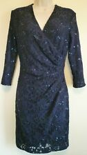 Ralph Lauren 6 navy blue lace sequin stretch ruching cocktail formal dress