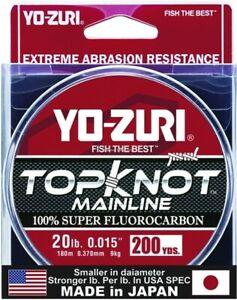 Yo-Zuri TKML20LBNCL200YD Topkot Fluorocarbon Line 20lb 200yd Clear Boxed