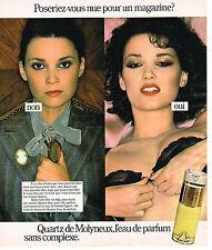PUBLICITE ADVERTISING 124  1977  MOLYNEUX   parfum QUARTZ  pour femme