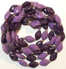 "51"" Vintage Mod Boho Purple Atomic Geometric Plastic Gold Glass Bead Necklace"
