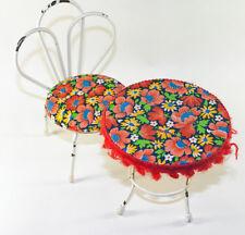 Tisch und Stuhl Puppenstube alte Sitzgarnitur aus Metall fleural 70 er Stil Möbel Puppen & Zubehör