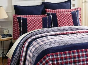 CARTER BLUE PLAID 1pc Full / Queen QUILT : 100% COTTON PREPPY RED WHITE PATCH