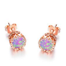 Sweet Round Cut Purple Fire Opal Rose Gold Crown Stud Earrings For Women Jewelry