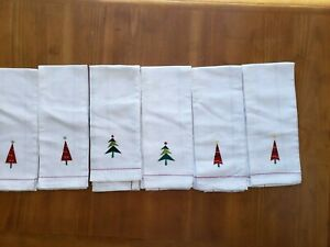 Lot of 6 Christmas Tea/Hand Towels, 100% Cotton, White w/Christmas Trees