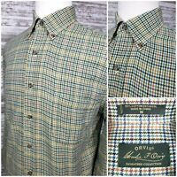 Orvis Signature Collection Mens M L/S Button Down Houndstooth Shirt Cotton/Wool