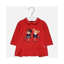 2052 Mayoral Infant Girls striped long sleeved T-Shirt in Navy Aged 18-36