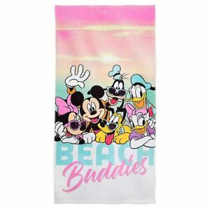 New Disney Mickey Mouse and Friends Beach Towel Mickey Minnie Goofy Pink