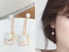 Rose Gold Silver Post Simulated Pearl Frame Shaped Dangle Drop Earrings Gift K58