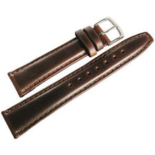 19mm Hadley-Roma MS881 Mens Brown Oil-Tan Smooth Padded Leather Watch Band Strap