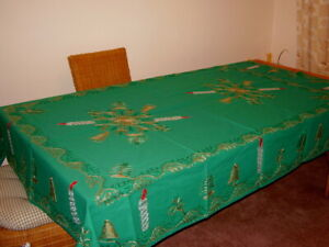 New Embroidered Damask Linen Christmas Green Tablecloth 2m long