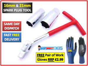 Spark Plug Removal Tool 16mm & 21mm T-Bar T-Handle Flexible Spanner Socket 4-17