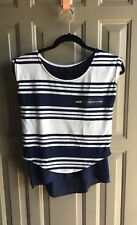 Blouse Top Short Sleeve Color White Navy Blue Size XS
