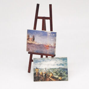 1/12, Dolls House miniature Artists Easel Paintings Wood Art Painting NEW