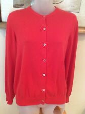 Henri Bendel Orange 100% Cotton Cardigan Sweater made in Italy Sz M EUC