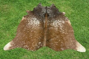 Cowhide Rug Tricolor Real Cow Hide Hair on Animal Skin Leather Area Rug 5 x 5 ft