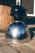 Reclaimed Industrial Factory Pendant Lamp Light Very Large Silver Chrome #IN3