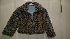 Girls Blue Black Brown Leopard Print Blue Reversible Jacket Coat Size M 5 6