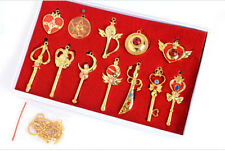 Sailor Moon Crystal Star Compact Transformation Brooch ChibiMoon Necklace Set A